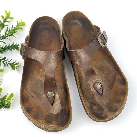 27d37ec32555 Birkenstock Shoes - BIRKENSTOCK Gizeh Sandals Bronze Leather